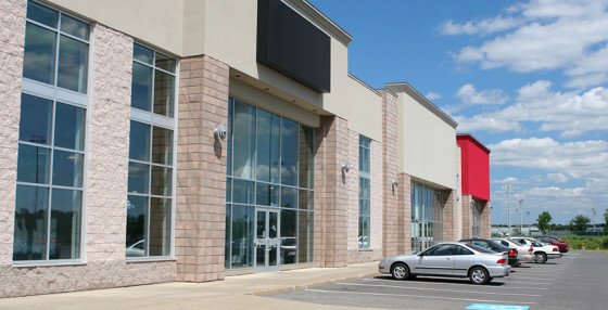 Commercial Windows installed in a strip mall