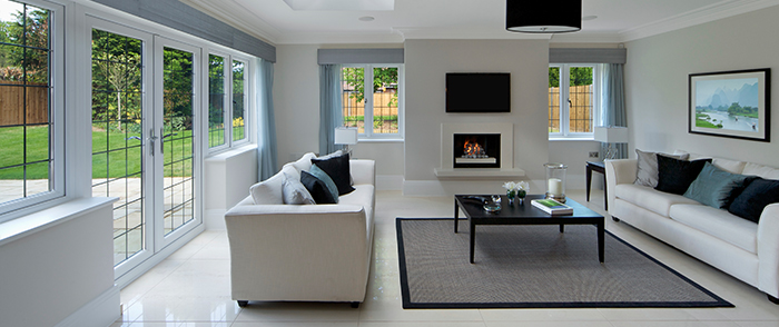 Home Glass fireplace and patio doors